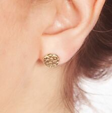 14K Gold Filled STUD Textured Round Disc Hammered Tiny WOMEN