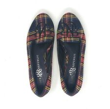 Rock Republic Flats Plaid Check Closed Toe Embroidered Womens Shoes Red Black 6