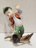 Vintage Scarce HEREND Porcelain Figurine HUNTER BOY WITH RABBIT HARE - c.1950