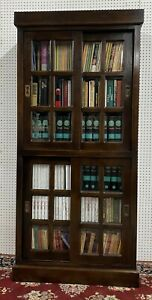 American Vintage Excellent All Solid Wood Bookcase Beveled Glass & Siding Doors