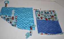 Set of 2 Security Blanket Burp Cloth Trucks Vehicles Blue Minky Dots Handmade