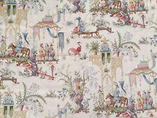"New listing 1Yd Schumacher Greeff ""Tientsin� Pastel Trellis Pagoda Chinoiserie Cotton Fabric"