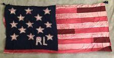 Ralph Lauren Polo Patchwork Scarf American Flag Tasseled NEW 48x48