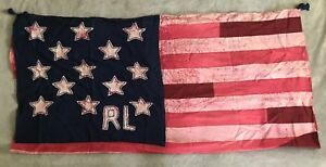 Ralph Lauren Polo Patchwork Scarf American Flag Tasseled NEW 48x48