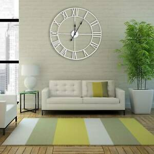60CM EXTRA LARGE WHITE ROMAN NUMERALS SKELETON IRON WALL CLOCK BIG GIANT ROUND