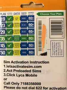 LYCAMOBILE SIM Cards Preloaded $23/$29/$35/$39 1 Month Service Included