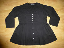Women's Gudrun Sjoden Black Long Sleeve V Neck Button Up Cotton Top Size S