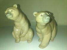 Lladro Bear Walking and sitting light tan brown figurines
