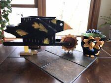 Wood Wheelbarrow Planter Crow Bird Sunflower Wheel & 3D Crow Flower Pot