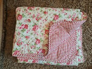Cath Kidston Rosali ikea Gingham Quilted Throw Bedspread Blanket double king VGC