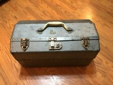 Vintage Hawthorne Montgomery Ward Metal FishingTackle Box Fold out 4 Tray