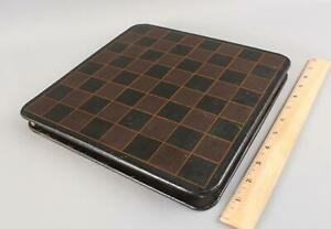 Small Antique Painted Chess & Checkers Gameboard & Box, NO RESERVE!