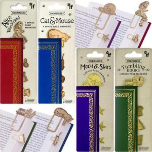 SET OF 4 BRASS PAGE MARKER Bookmark Book Minder School Stationery Birthday Gift