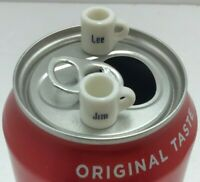 "Mini Named Coffee Mugs: 2 are 1-1/4"" Elizabeth &James, 2 are mere 1/2"" Lee & Jim"