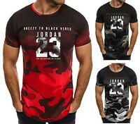 NEW Mens T-shirt Michael Air Legend 23 Jordan Men shirt Tops Camo Fitness Tumblr