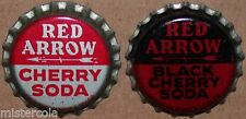 Vintage soda pop bottle caps RED ARROW Collection of 2 different cork lined