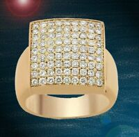 2.47CT NATURAL ROUND DIAMOND 14K SOLID YELLOW GOLD MEN WEDDING RING SIZE 9 TO 11