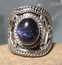 925 silver chunky BLUE SANDSTONE stone ring UK N-N½/UK 7. Gift bag.