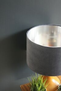 Lampshade, Grey Velvet with Brushed Silver Lining