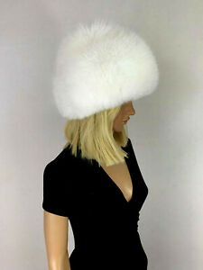 Arctic Fox Fur Beret Hat All Fur Double Layer Round Hat Full Fur Pure White