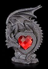 Drachen Figurmit rotem Acryl Herz - Gothic Geschenk Liebe Deko Statue schwarz
