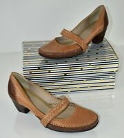 Clarks Tan Brown Leather Mary Janes Platform Shoes Office Size UK 5 EU 38 AO