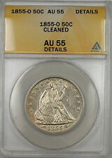1855-O Seated Liberty Silver Half Dollar 50c Coin ANACS AU-55 Details Cleaned