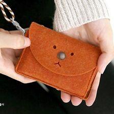 New Lovely Brown Bear Face Wallet Purse Bag Coin Key Card Felt 10CM