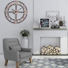 Wall Clock 28 in. Diameter Oversized Roman Round Metal Multi-Tone Wood Finish