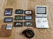 Nintendo Gameboy Advance SP Silver Works Tested With Games Yoshi Disney Charger