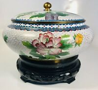 Antique 1920s Chinese Cloisonne Enamel on Bronze Jar With Lid With Wood Stand