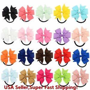 20 pcs 3 Inch Boutique Grosgrain Ribbon Girl's Hair bows  Hair Elastic Bows