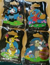 2017 Wdi Cast Member Exclusive Easter Rabbit Pin Set Oswald Thumper March Hair