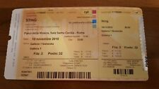 STING POLICE RARE USED TICKET FROM ITALIAN CONCERT 2010 TOUR ROMA