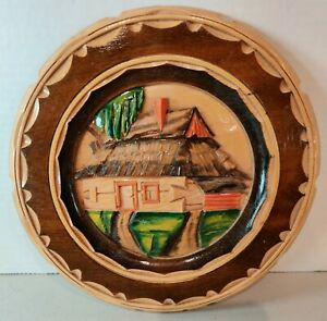 Vintage Folk Art Ethnic European Woman with Fruit Painted Wooden Plate