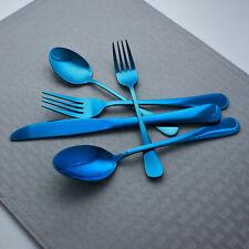 Elyon Tableware 5-Piece Flatware Reflective Blue Set, Service For 1