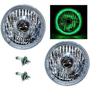 "7"" Halogen H4 Headlight Headlamp Green LED Halo Angel Eyes Light Bulbs 12 Volt"