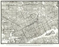 1935 Antique City Map of DETROIT Michigan Detroit Street Map Wall Art 8175