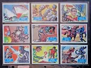 1966 TOPPS *BATMAN BLUE BAT COWL BACK* COMPLETE 44 CARD SET VG/EX **RARE**