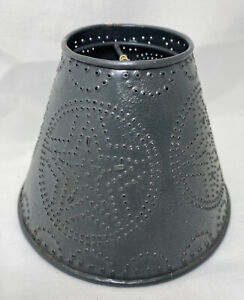 """Punched Tin Star Rustic Black Primitive Small Lamp Shade 4.5""""H x 6""""W Bulb Clipon"""