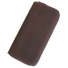 Men's Real Leather Long Wallet Zip Around Purse Credit Card Holder for iPhone 5s