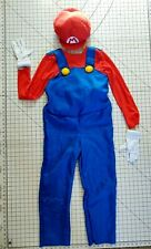 Super Mario Brothers Padded Red Mario Costume Hat Union Suit Gloves Childs Large