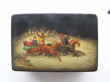 VINTAGE LACQUER BOX MSTERA lackey HAND PAINTED winter troika Russian way of life