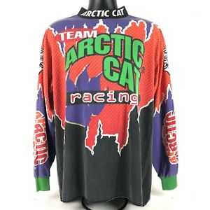 Rare VTG 90S  Arctic Cat Racing Snowmobile Jersey Long Sleeve size XL