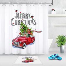 Christmas Red Retro Truck Fir Tree Dachshund Shower Curtain Set Bathroom Decor