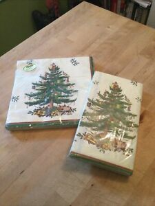 Vintage NOS Spode Christmas Tree Gibson Paper Dinner Napkins and Guest Towels