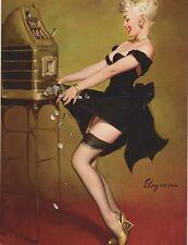 "~Post Card~""Lady In Black...Hits Jack-Pot on Slot Machine""(B-183)"
