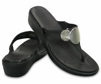 Crocs Womens Sanrah Embellished Wedge Flip Flop Sandal Shoe NEW Sz 7 and 9