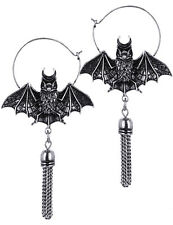 Restyle Oriental Bat Silver Hoop Drop Earrings Gothic Witchy Occult Jewelry