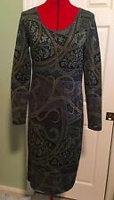 PERUVIAN CONNECTION Pima Cotton Patterned Long Sleeve Sweater Dress, Medium